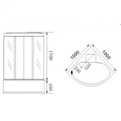WSH1306B/BS kabina z hydromasażem 6 dysz Biała White Mat