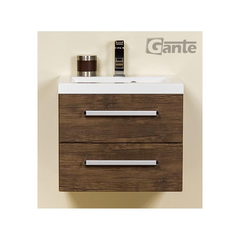 Szafka łazienkowa antyczne drewno 50cm FOKUS z umywalką