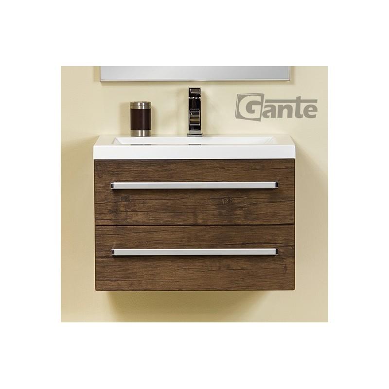 Szafka łazienkowa antyczne drewno 60cm FOKUS z umywalką