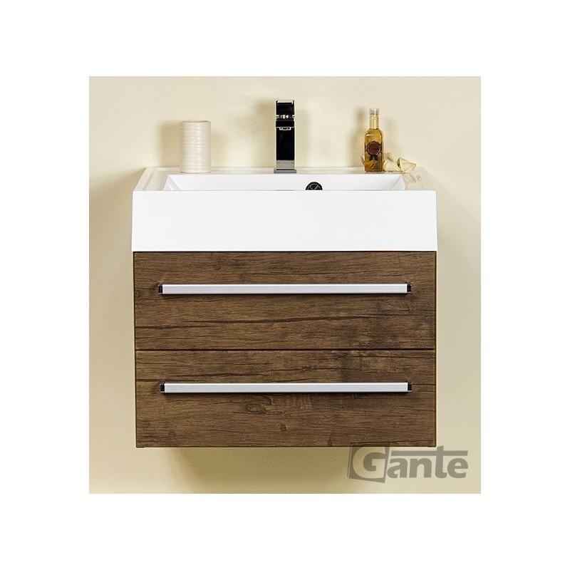 Szafka łazienkowa antyczne drewno 60cm FOKUS z umywalką UFKS-600