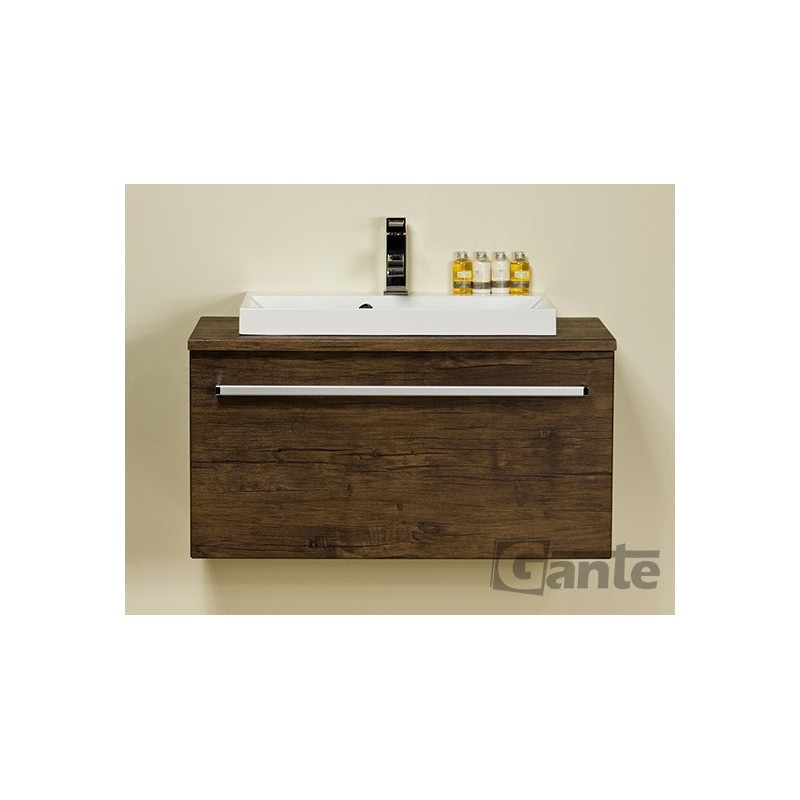 Szafka łazienkowa antyczne drewno 80cm FOKUS z blatem i um Liv
