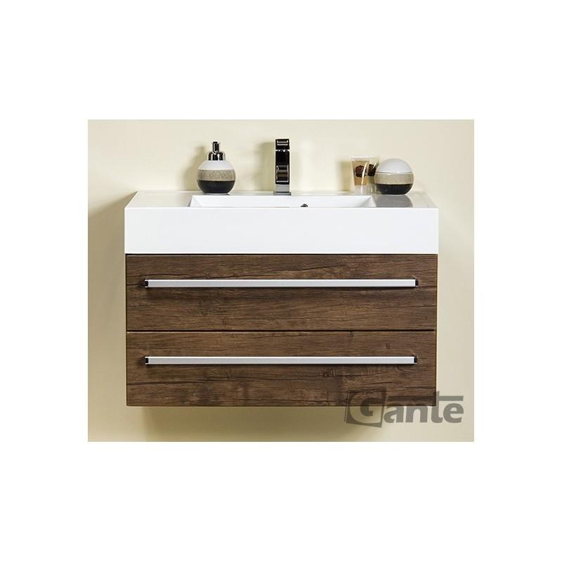 Szafka łazienkowa antyczne drewno 80cm FOKUS z umywalką UFKS