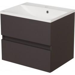 Szafka łazienkowa szara 60cm AKSAMIT z umywalką