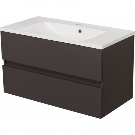 Szafka łazienkowa szara 90cm AKSAMIT z umywalką
