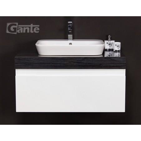 Szafka łazienkowa biała 100cm CASSINI z umywalką ceramiczną