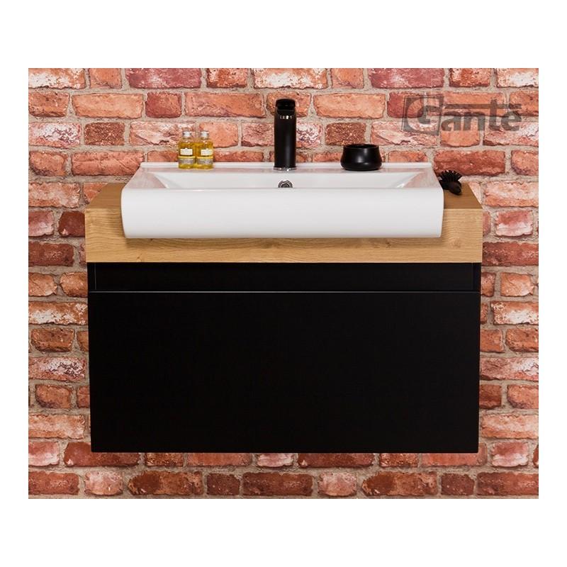 Szafka łazienkowa czarna 80cm CASSINI z umywalką ceramiczną
