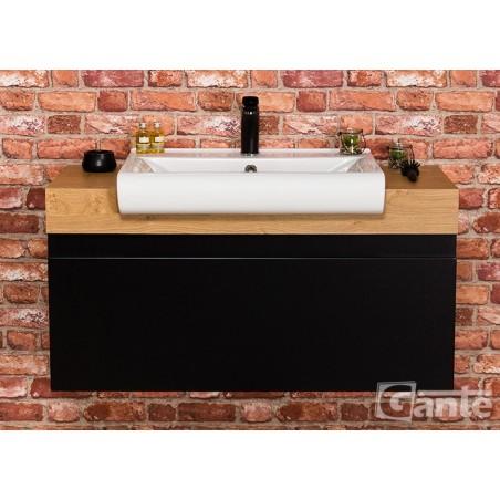 Szafka łazienkowa czarna 100cm CASSINI z umywalką ceramiczną