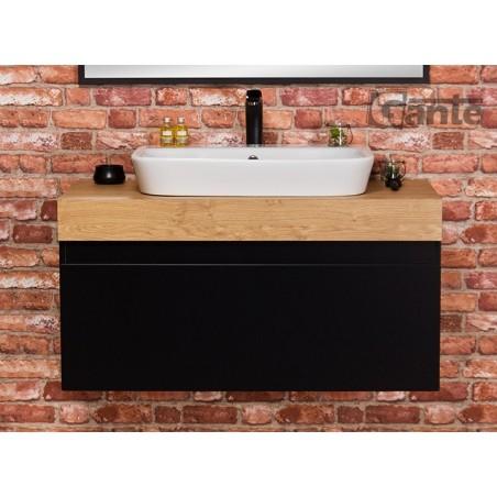 Szafka łazienkowa czarna100cm CASSINI z umywalką ceramiczną