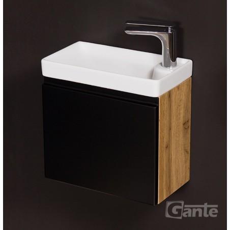 Szafka łazienkowa czarna 40cm CLER LOFT z umywalką ceramiczną