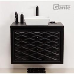 Szafka łazienkowa czarna 80cm COBRA z umywalką ceramiczną