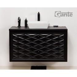 Szafka łazienkowa czarna 103cm COBRA z umywalką