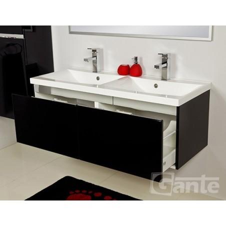 Szafka łazienkowa czarna 120cm DIAMOND z umywalką podwójną