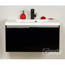 Szafka łazienkowa czarna 80cm DIAMOND z umywalką