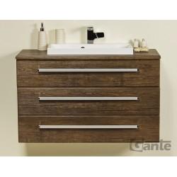 Szafka łazienkowa ant.drewno 100cm FOKUS z blatem i umywalką liv
