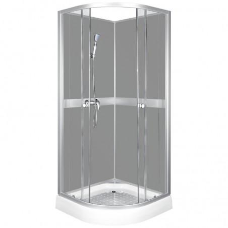 Kabina prysznicowa półokrągła 80 z płytkim brodzikiem CLASSIC GREY
