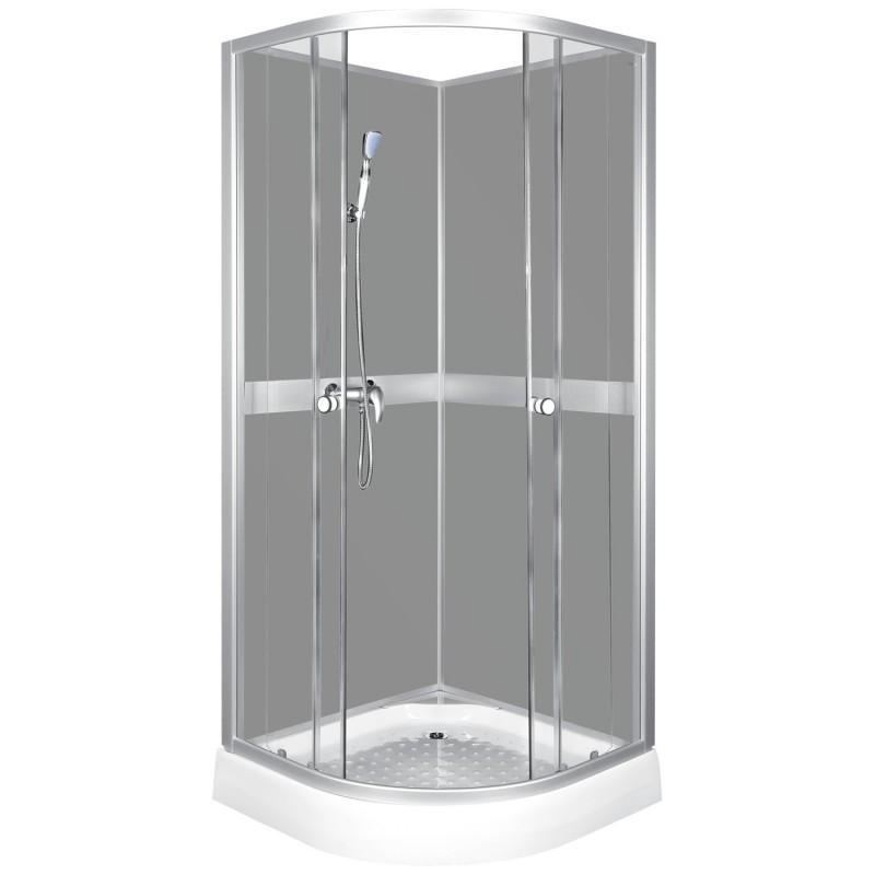 Kabina prysznicowa półokrągła 90 z płytkim brodzikiem CLASSIC GREY
